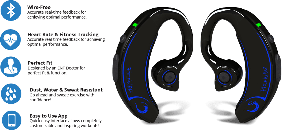 FreeWavz Bluetooth Earbuds Heart Rate Monitors