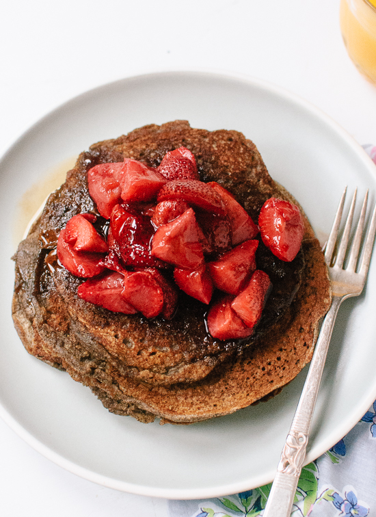 gluten free buckwheat pancakes with roasted strawberries
