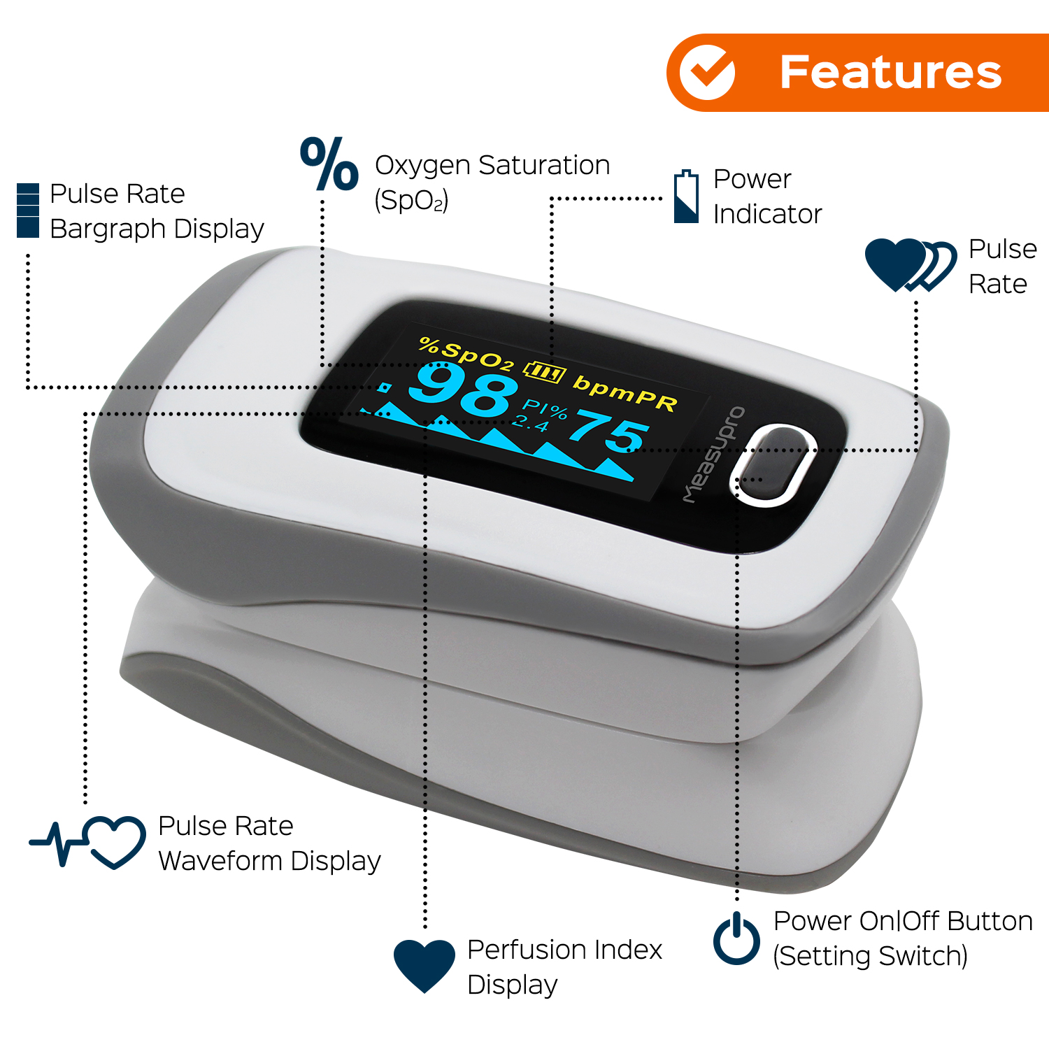 measupro instant read digital pulse oximeter