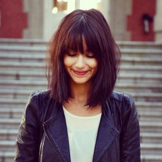 Bold Fringe with Blunt Cut hairstyles for girls with medium hair