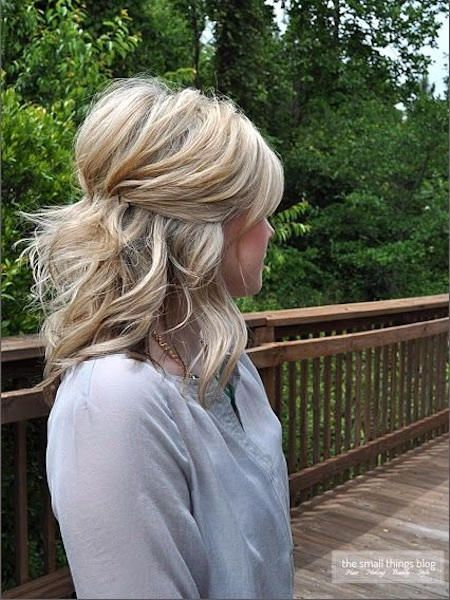 Pinned Back Hairstyles for Girls with Medium Hair