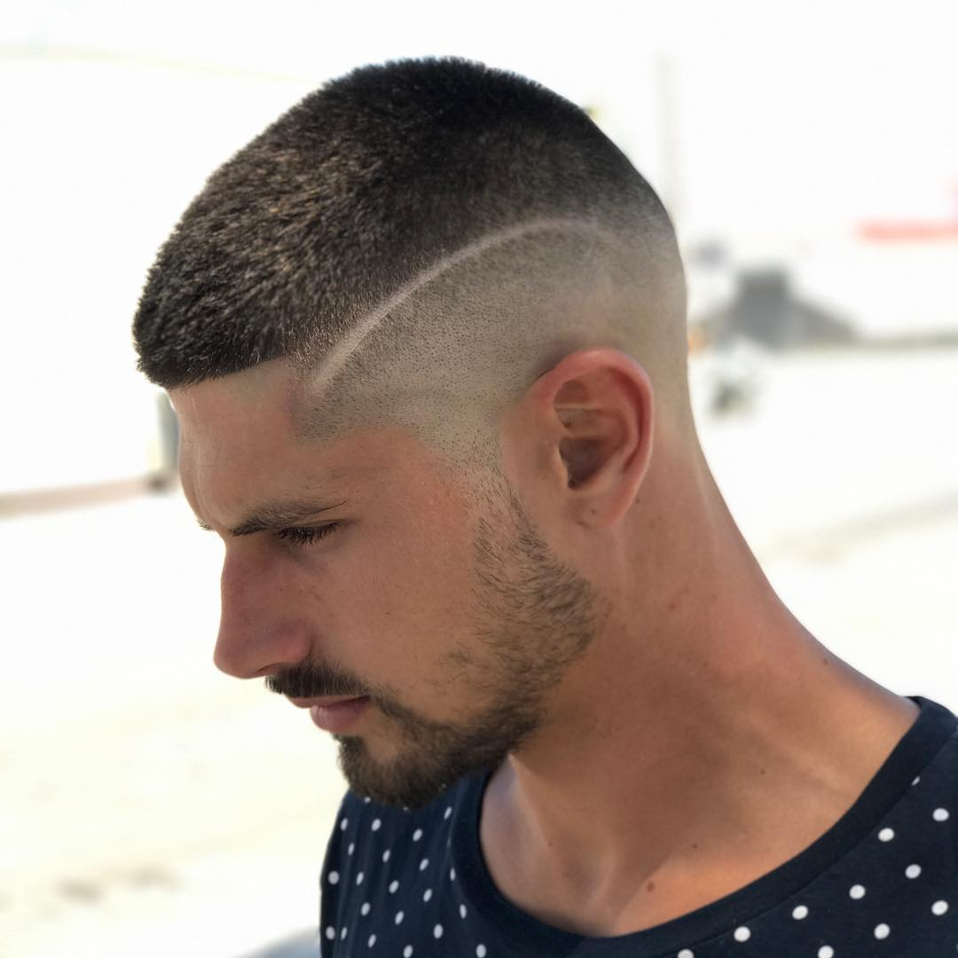 Side Buzz with Lines Hairstyles for Boys