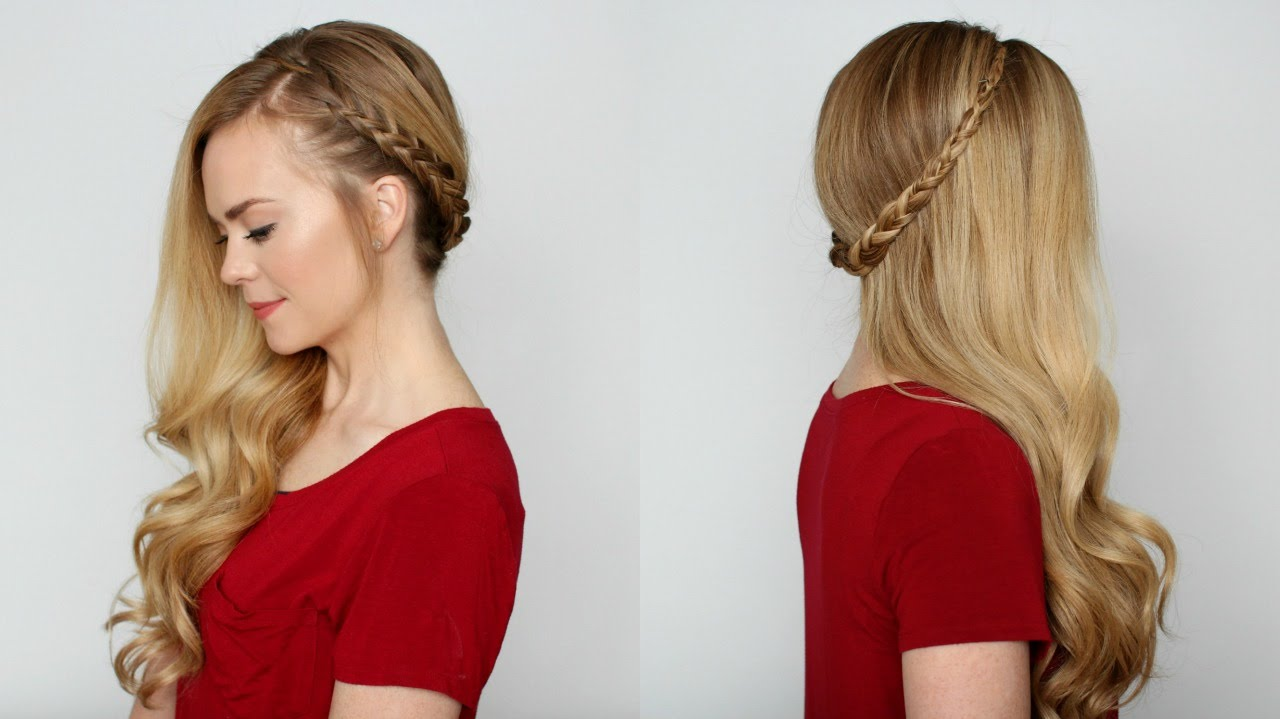 Side-Swept Dutch Braid hairstyles for girls with medium hair
