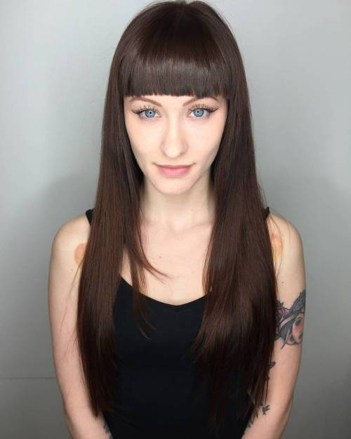 Straight Bangs Straight Hairstyle for Women