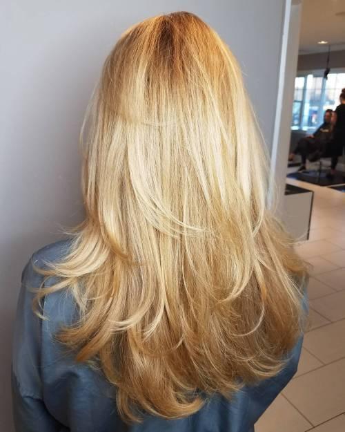 U-Shaped Long Fathered Layers Long Hairstyles