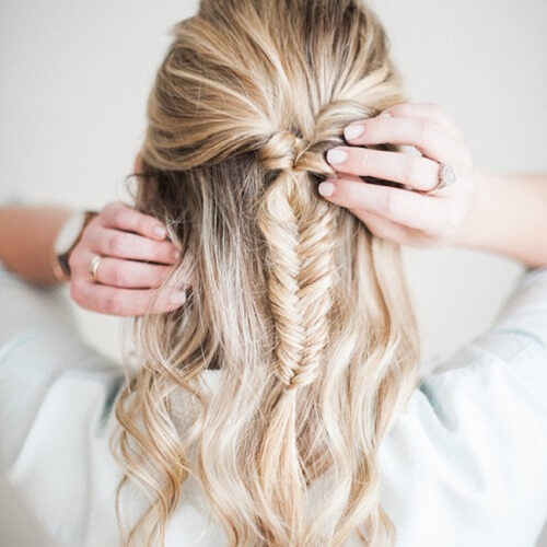 pulled fish tail hairstyles for girls with medium hair