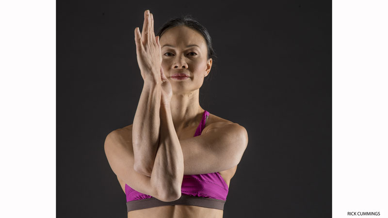 Activate rotator cuffs with eagle pose arms - Garudasana Arms