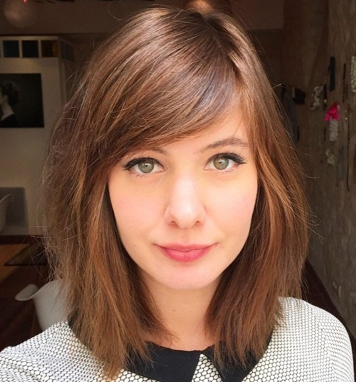 side swept bangs Hairstyles for Girls with Medium Hair