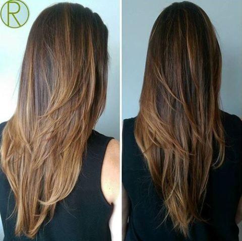 V Cut Layer Long Hair