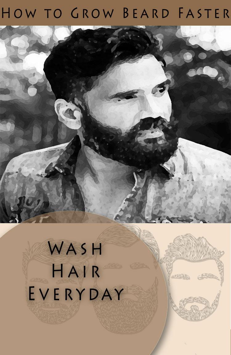 grow beard naturally wash regularly