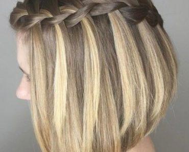 A-line Lob with Braid Haircut Teenage Girls