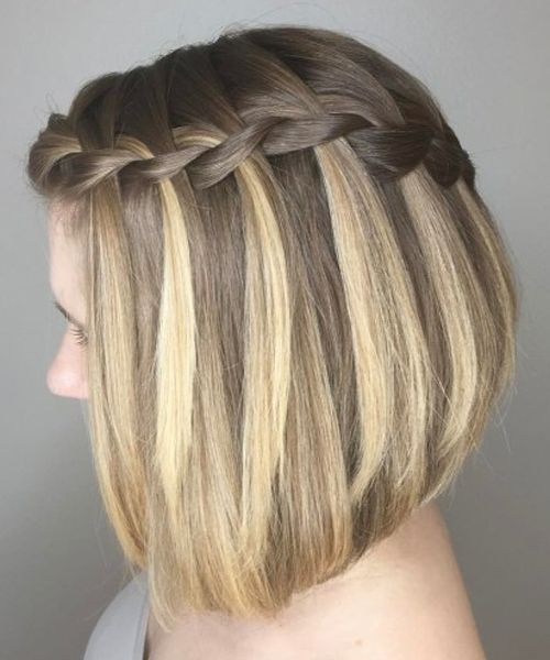 A-line Lob with Braid Haircut Teenage Girls