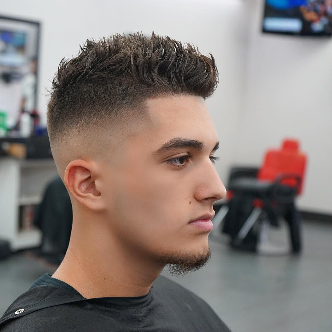 Bald fade with wave Under Cut Short Hairstyle for Men