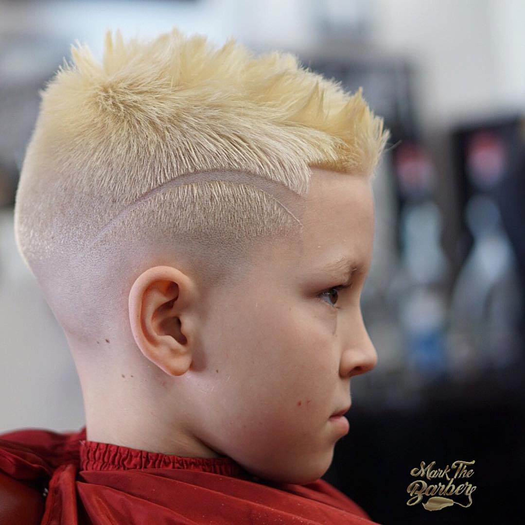 Blonde Burst Fade Mohawk with Design Short Hairstyle for Men