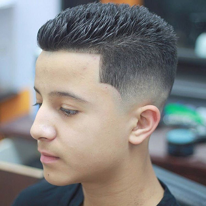 Brush Up with Fade and Line Up Short Hairstyle for Men