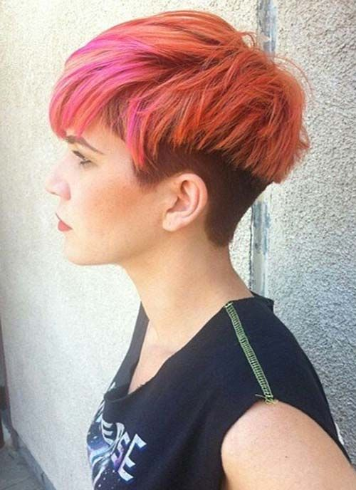 Red Undercut Short Hairstyle for Women