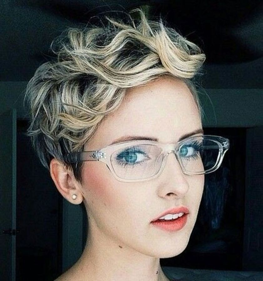 Short Curly Hair style with glasses