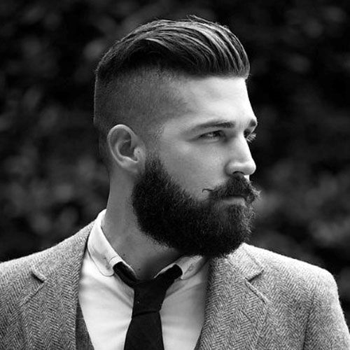 Slick Back Undercut with Long Beard Short Hairstyle for Men