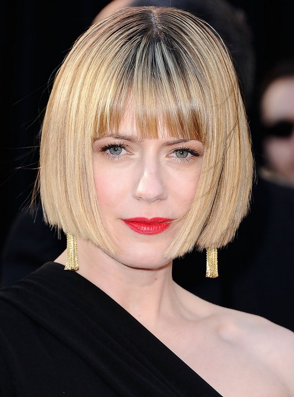 Straight Blonde Bob with Blunt Hairstyle for Women