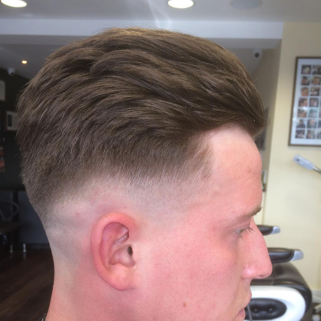 Sweep Back with Bald Fade Short Hairstyle for Men
