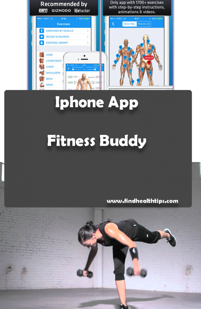 Fitness Buddy Best Health Fitness IPhone Apps | Women is practcing in the photo, have a fitness app screen of mobile phone