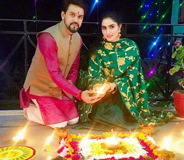 Anurag Thakur and Shefali beautiful wife of Indian politician