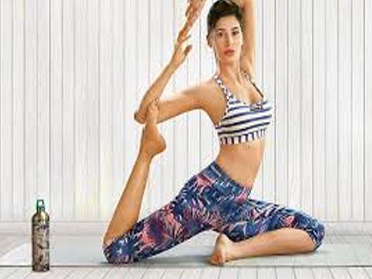 Nargis Fakhri Indian Celebrities doing Yoga