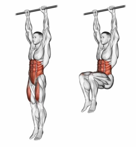 Hanging leg raise pull up exercise - Six pack abs workout
