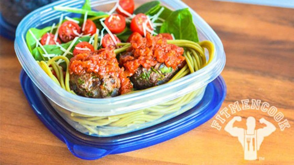 Spinach Meatball Pasta - Dinner for Bodybuilding