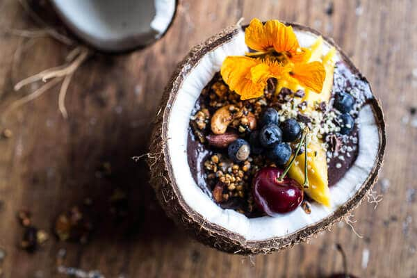 Summer Acai Bowl with Big Cluster Toasted Buckwheat Granola | Breakfast Ideas for Bodybuilding