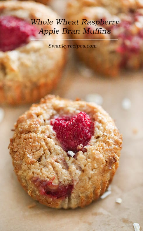 Whole Wheat Raspberry Apple Bran Muffins - healthy bodybuilding snacks
