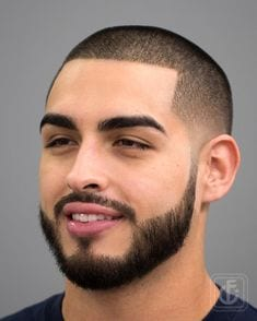 Image result for buzz cut shaped with connected beard haircut