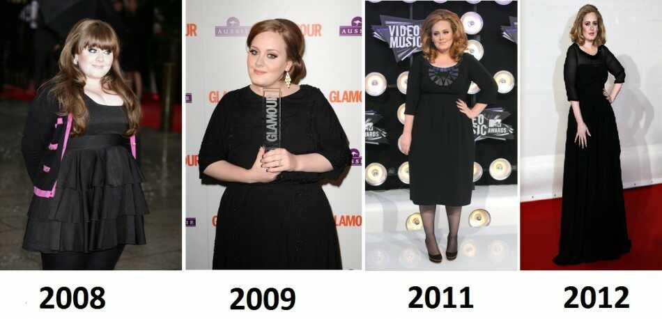 Adele Adkin weight loss journey from 2008 - 2012