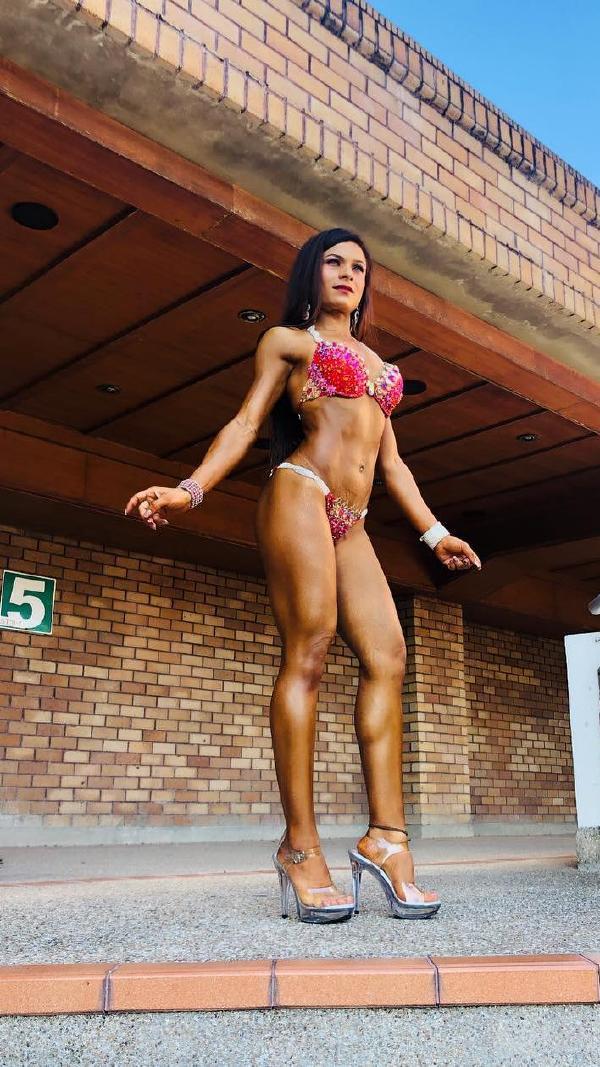 Bhavsara posing in Bikini and Heels