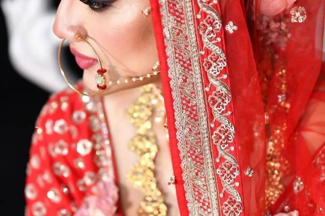 Nusrat Jahan posing as a bride