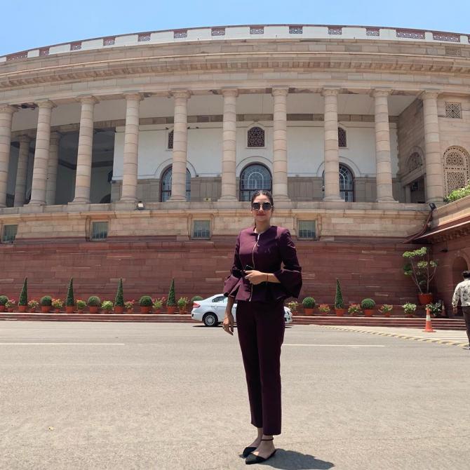 Nusrat Jahan posing infront of Sansad