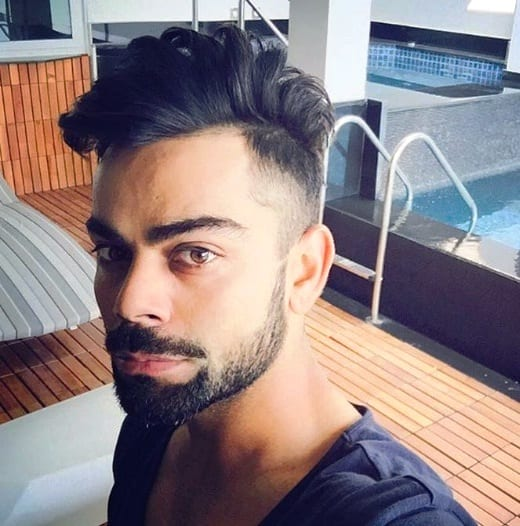 Full goatee with a detached mustache – Virat Kohli