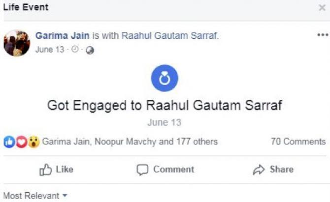 Garima Jain announced on social media