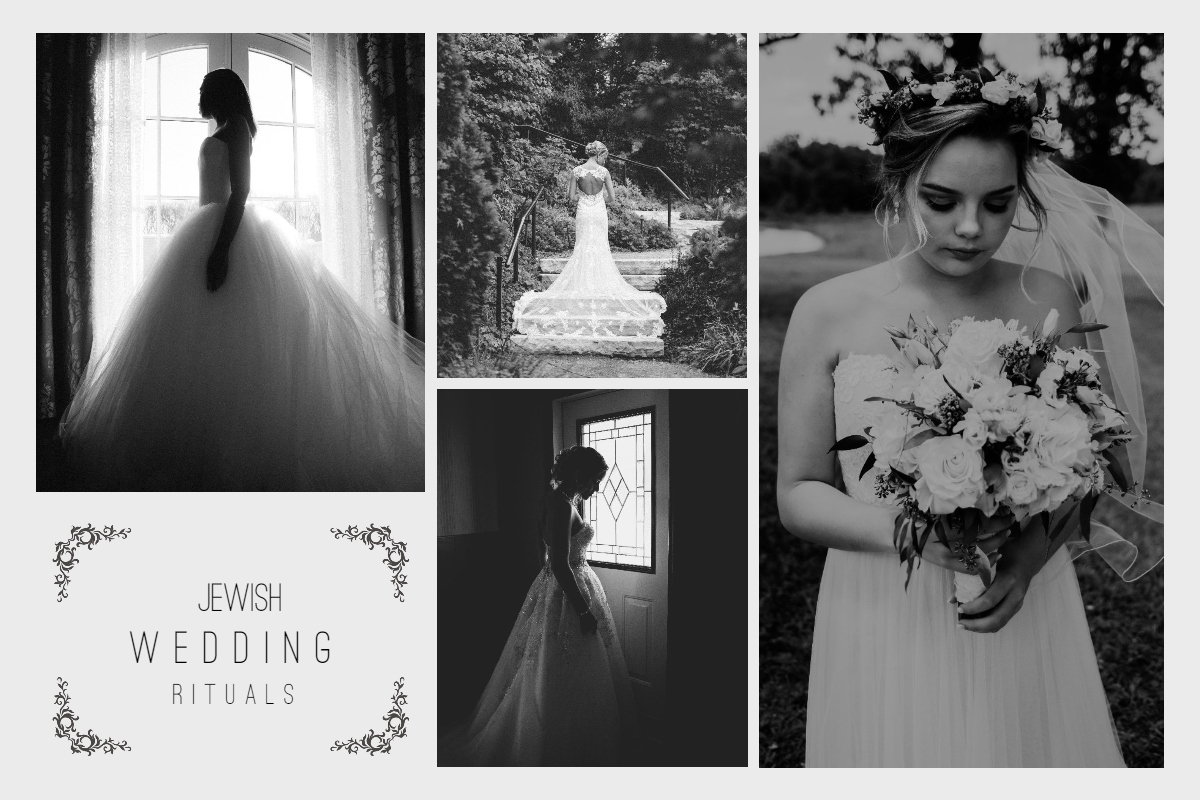 Jewish Wedding Rituals - Collage Photo of Jewish Gorgeous Woman in her Wedding Dress