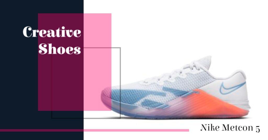 Creative Shoes - Nike Metcon 5 Multi Color Shoe [Blue, Orange, and White]