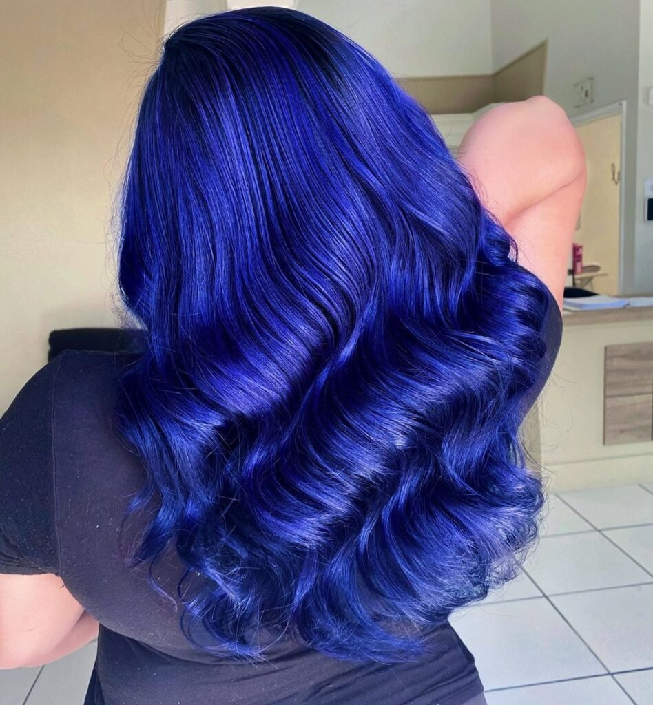 Indigo Hair Back Pose - Gorgeous Blue Hair Color Ideas