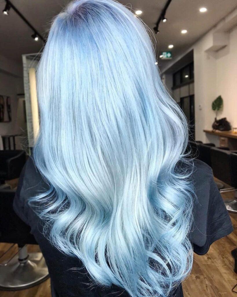 Light Blue Hair Back Pose - Gorgeous Blue Hair Color Ideas