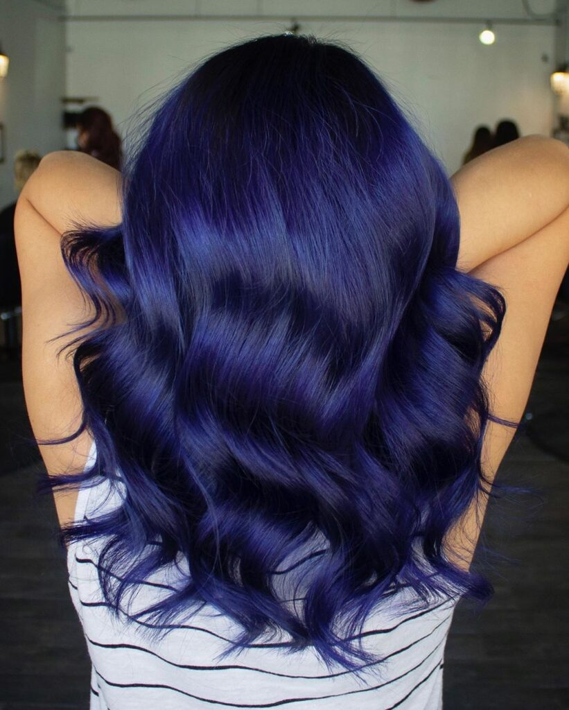Navy Hair with Back Pose - Gorgeous Blue Hair Color Ideas