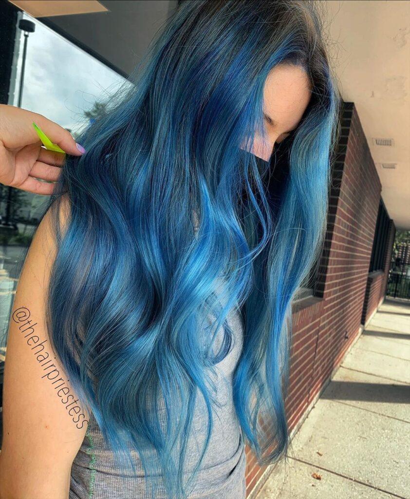 Powder Blue Hair Side Pose - Gorgeous Blue Hair Color Ideas