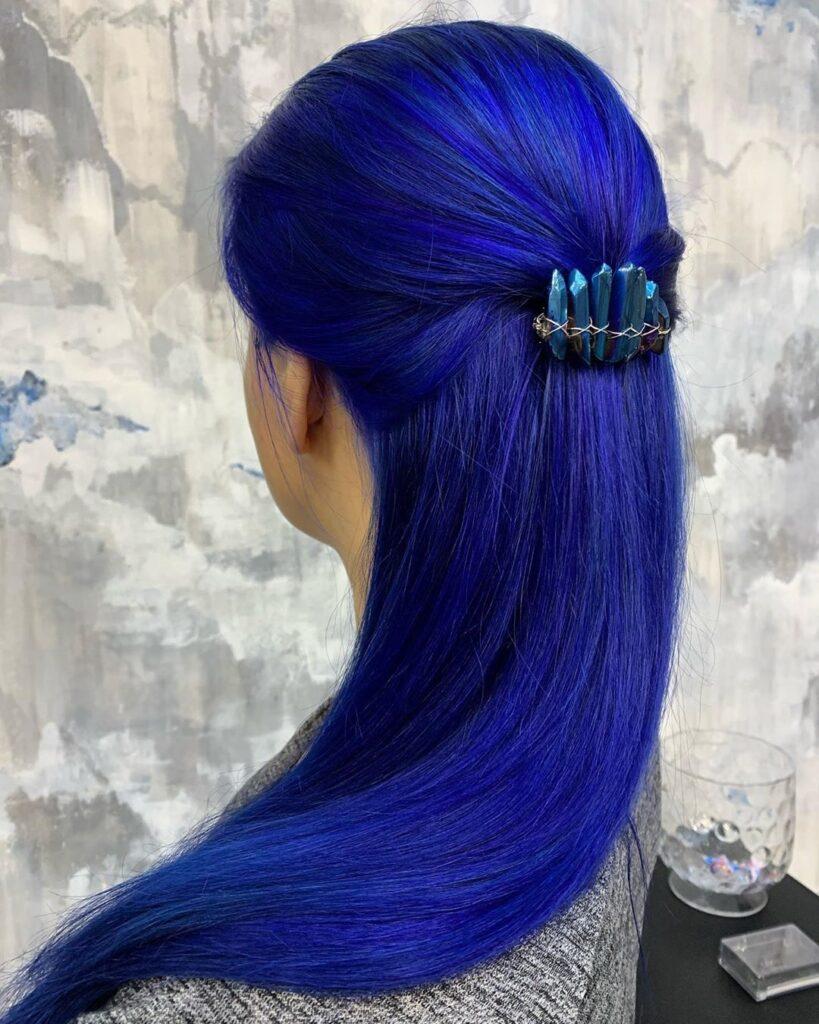 Royal Blue Hair Back Pose - Gorgeous Blue Hair Color Ideas
