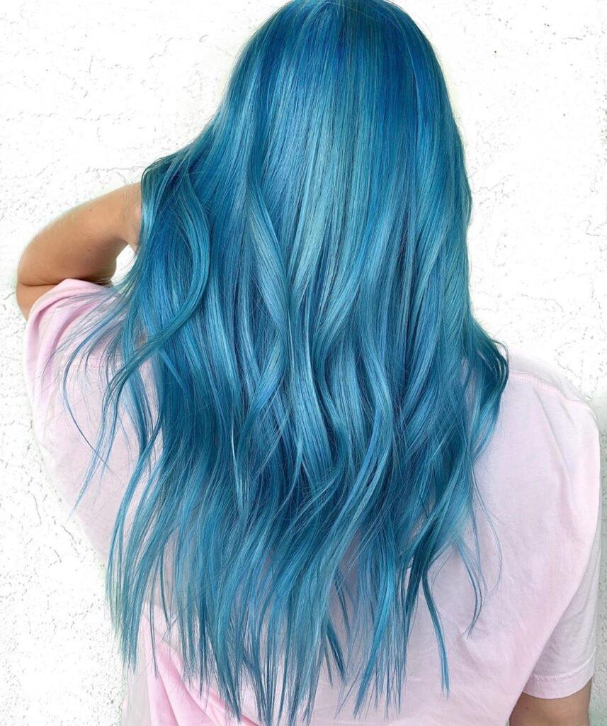 Sky Blue Hair Back Pose - Gorgeous Blue Hair Color Ideas