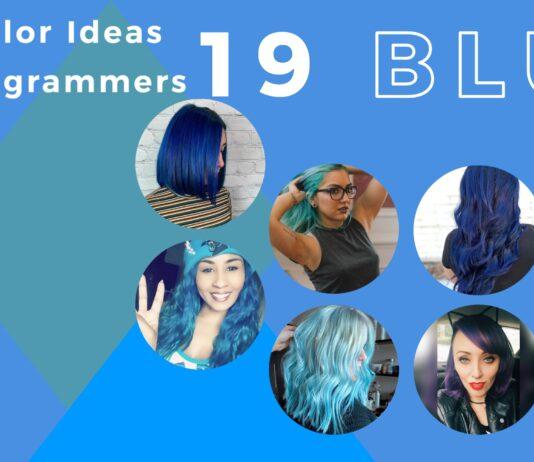 blue hair color ideas - collage