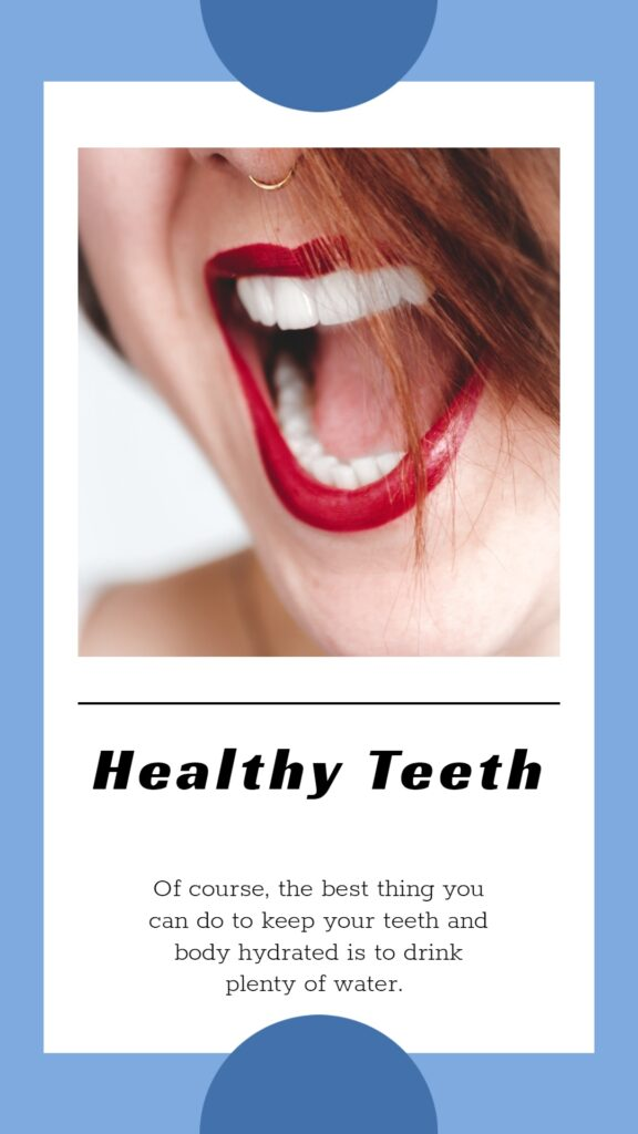 Healthy Teeth Fact written underneath of the teeth image