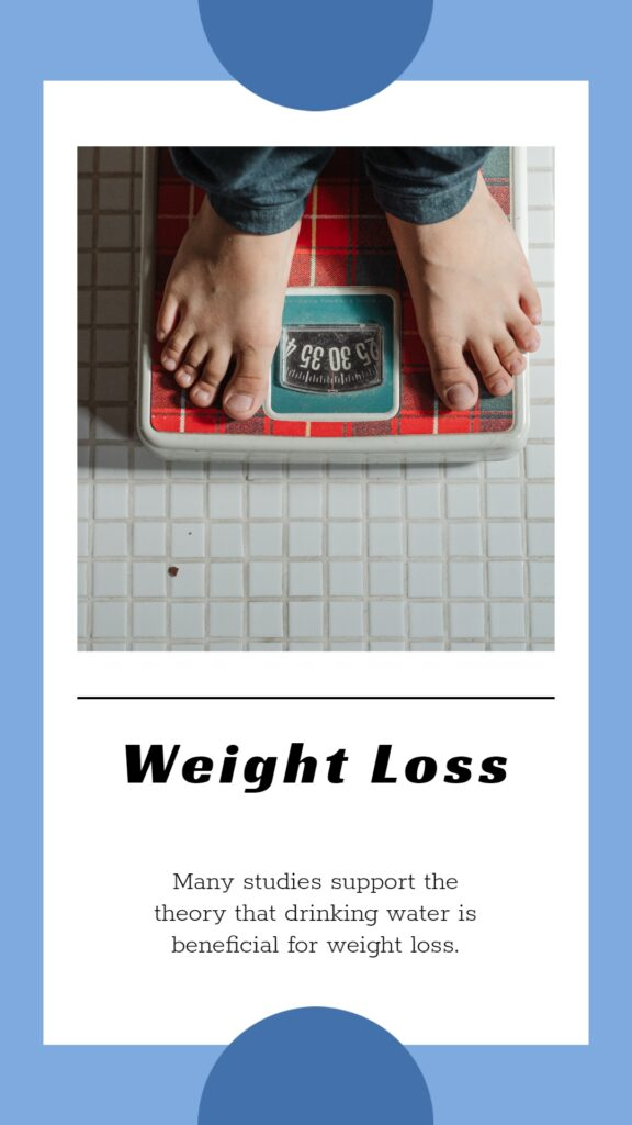 Body hydration causes weight loss, keep the body fits - fact written underneath of the weight loss machine image