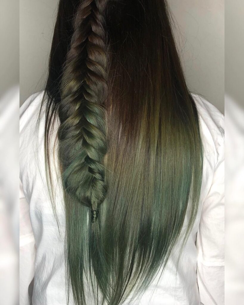 Army Green Hair color with back pose